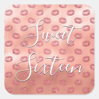 Sticker Carré Le bonbon or rose de 16 anniversaires rougissent