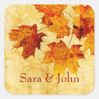 Sticker Carré le brun d'automne de chute laisse le joint