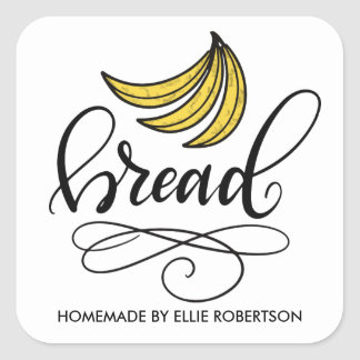 Sticker Carré Le cake à la banane fait maison, remettent en