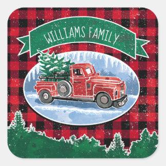 Sticker Carré Le camion vintage de Noël ajoutent le nom