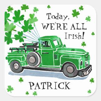 Sticker Carré Le camion vintage de vert du jour de St Patrick
