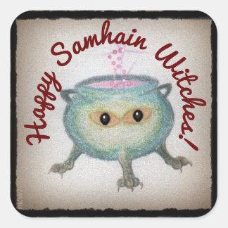 Sticker Carré Le chaudron astucieux Samhain souhaite la sorcière