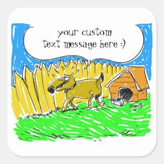 Sticker Carré le chien indique quelque chose bande dessinée