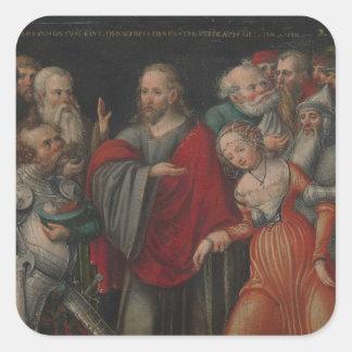 Sticker Carré Le Christ et l'adultère