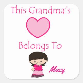 Sticker Carré Le coeur de cette grand-maman appartient à
