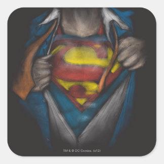 Sticker Carré Le coffre de Superman | indiquent le croquis