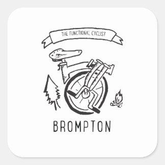 Sticker Carré Le cycliste fonctionnel - vélo se pliant Brompton