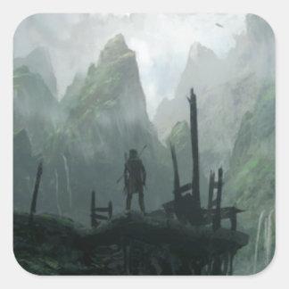 Sticker Carré Le dernier guerrier du clan de montagne