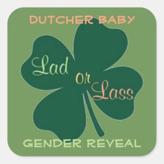 Sticker Carré le genre indiquent le bébé irlandais
