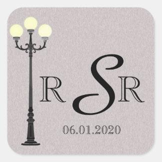 Sticker Carré Le grand monogramme facile de mariage