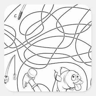 Sticker Carré Le labyrinthe raye le jeu des enfants