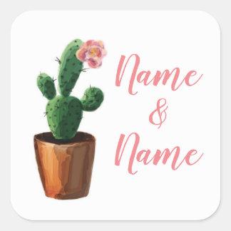 Sticker Carré Le mariage rose d'autocollants de cactus marque