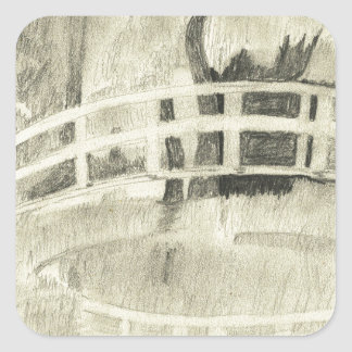 Sticker Carré Le pont japonais de Monet noir et blanc