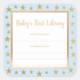 Sticker Carré Le premier ex-libris de la bibliothèque du bébé,