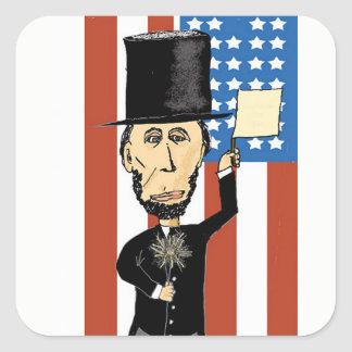 Sticker Carré Le Président Lincoln Rectangle Stickers, brillant