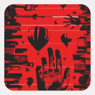 Sticker Carré Le rouge de RANDOMAL monte en ballon des