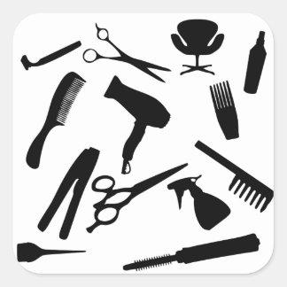 Sticker Carré Le salon de coiffure usine |