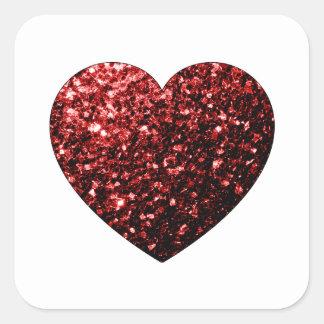 Sticker Carré Le scintillement rouge de beau charme miroite