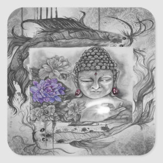 Sticker Carré Le souhait de Bouddha