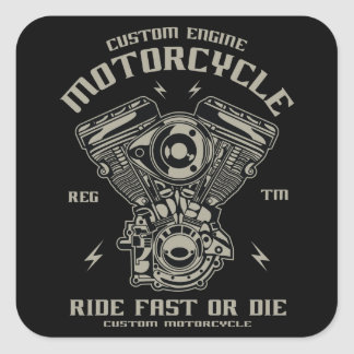 Sticker Carré Le tour fait sur commande de moto de moteur rapide