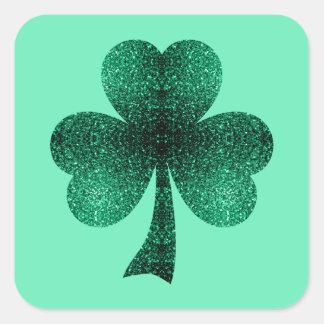 Sticker Carré Le vert vert miroite turquoise de trèfle de