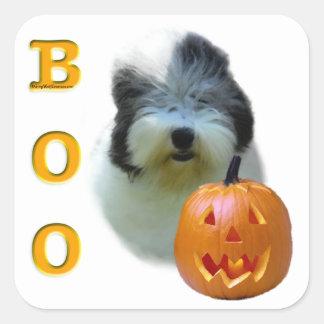 Sticker Carré Le vieux chien de berger anglais Halloween huent