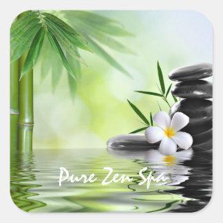 Sticker Carré Le zen en bambou personnalisé lapide le Plumeria