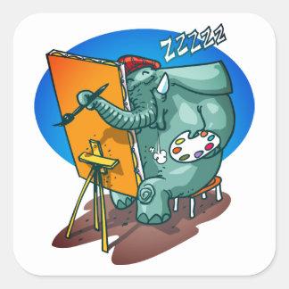 Sticker Carré l'éléphant le peintre est bande dessinée drôle de