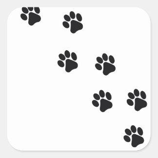 Sticker Carré L'empreinte de patte du chien drôle