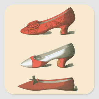 Sticker Carré Les chaussures rouges des femmes vintages