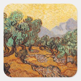 Sticker Carré Les oliviers de Vincent Van Gogh (Olives trees)