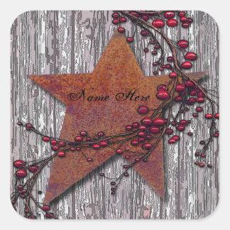 Sticker Carré Les panneaux de grange se sont rouillés étoile