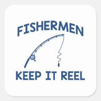 Sticker Carré Les pêcheurs le gardent bobine