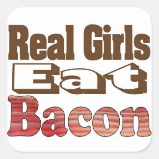 Sticker Carré Les vraies filles mangent du lard