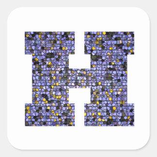 Sticker Carré Lettre scintillante H de monogramme en verre