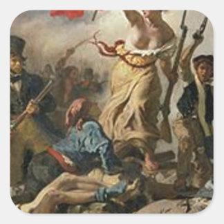 Sticker Carré Liberté menant les personnes