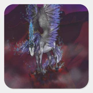Sticker Carré Licorne bleue de blanc de poney de cheval à ailes