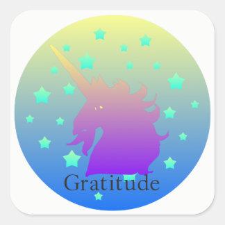 Sticker Carré Licorne d'Ombre avec gratitude de mot