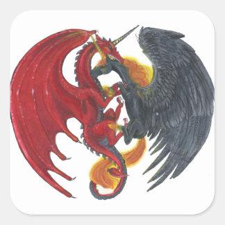 Sticker Carré Licorne noire du feu et dragon rouge