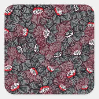 Sticker Carré ligne fleur