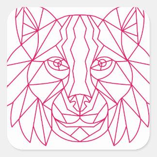 Sticker Carré Ligne mono de tête de chat sauvage de Lynx