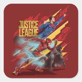 Sticker Carré Ligue de justice | Superman, éclair, et insigne de