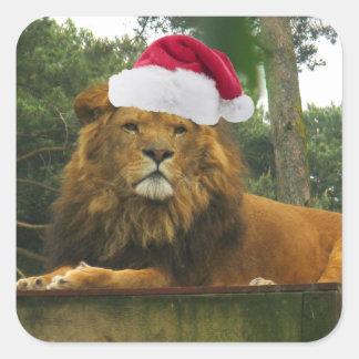 Sticker Carré Lion de Noël utilisant le casquette de Père Noël