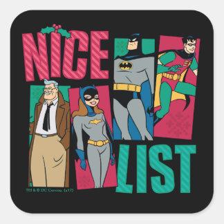 Sticker Carré Liste de Batman   Père Noël Nice de héros