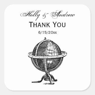 Sticker Carré Lithographie vintage de globe du monde dessinant