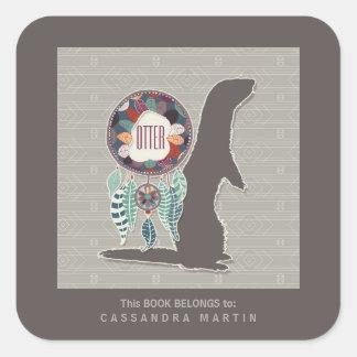 Sticker Carré Livre d'esprit animal de Natif américain de loutre