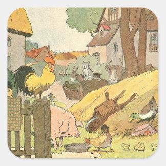 Sticker Carré Livre d'histoire d'animaux de ferme illustré