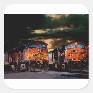 Sticker Carré Locomotives puissantes prêtes à transporter