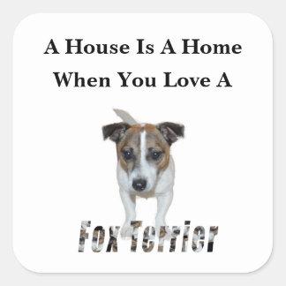 Sticker Carré Logo d'amour de Fox Terrier et de Fox Terrier,