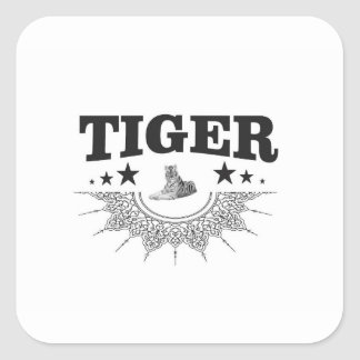 Sticker Carré logo de fantaisie de tigre